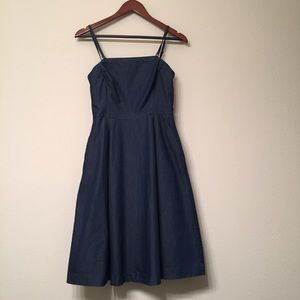 WHBM Strapless Denim Fit and Flare Dress w/ straps